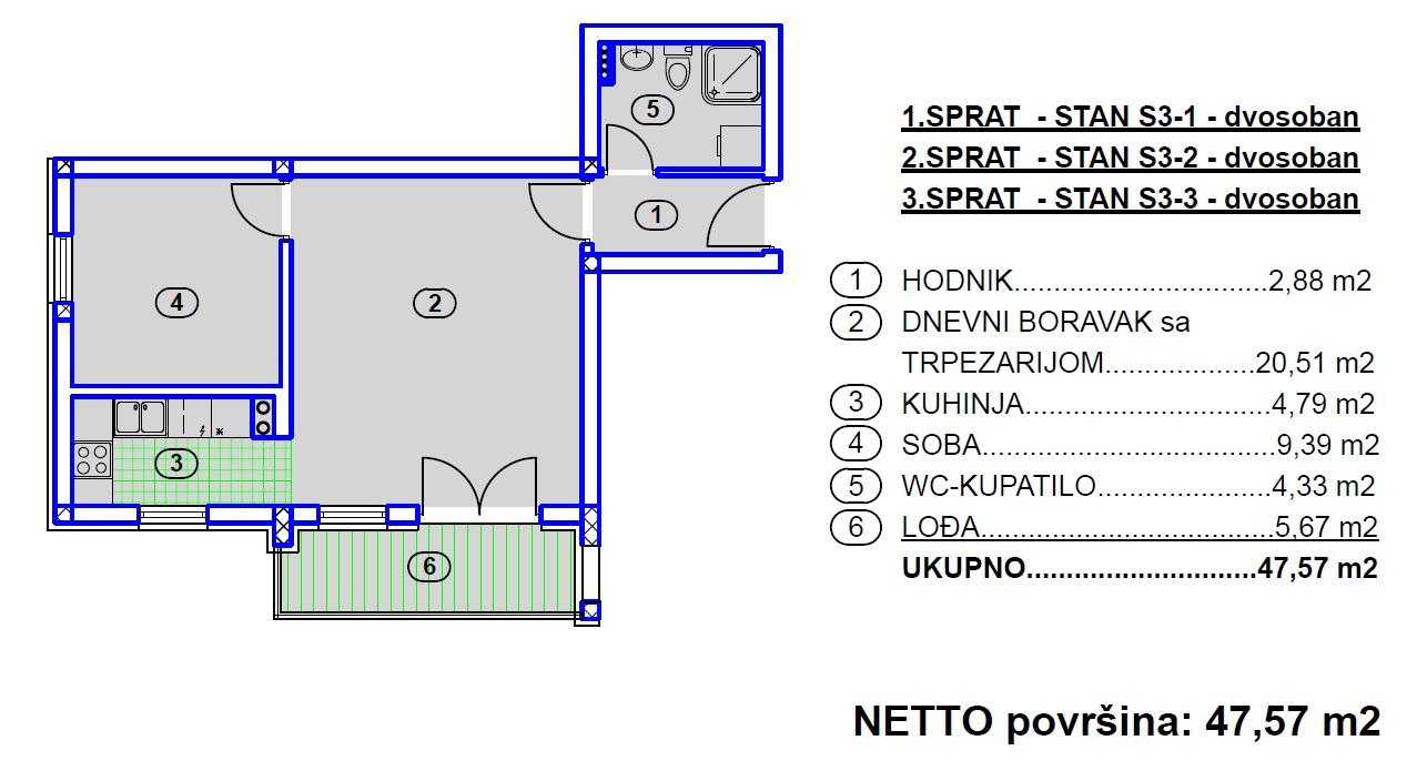 4 Stana, Stanovi tip S3, Travnik